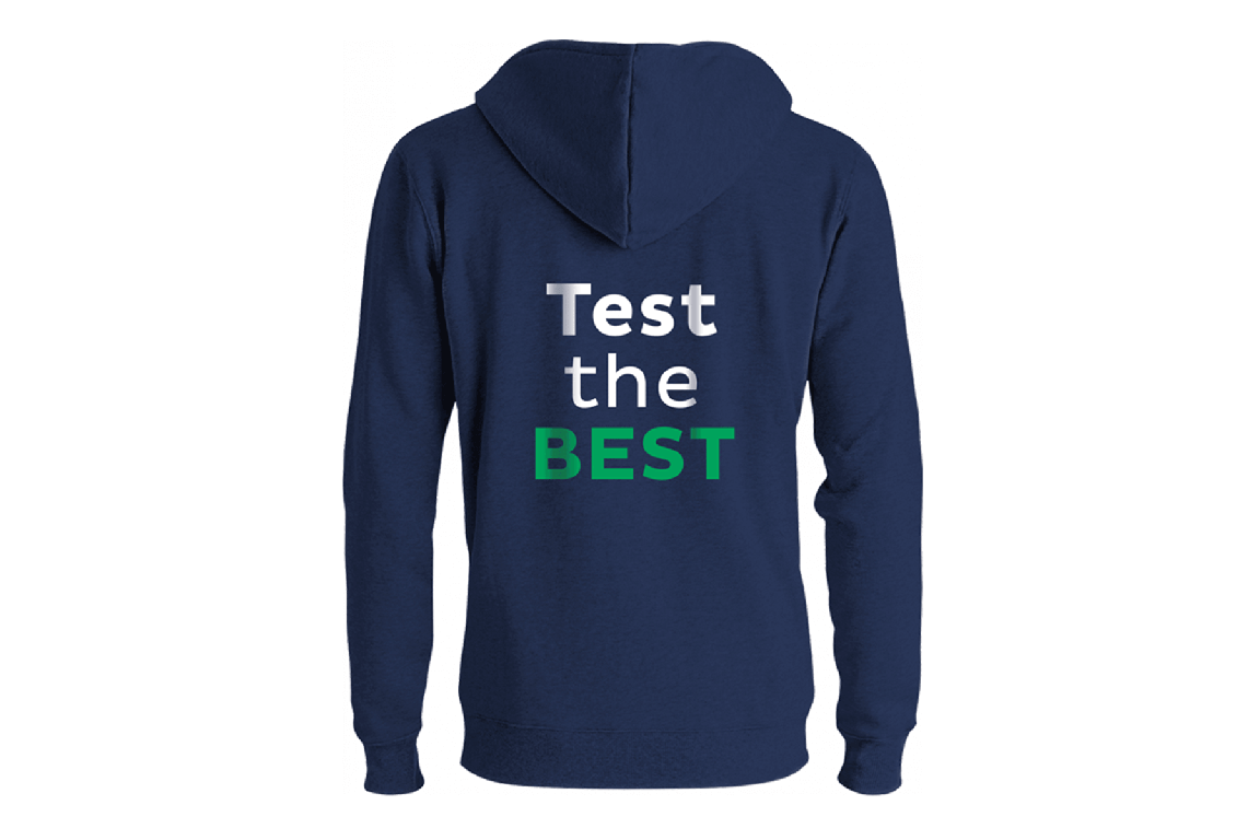 'Test the BEST' hoodie promotion