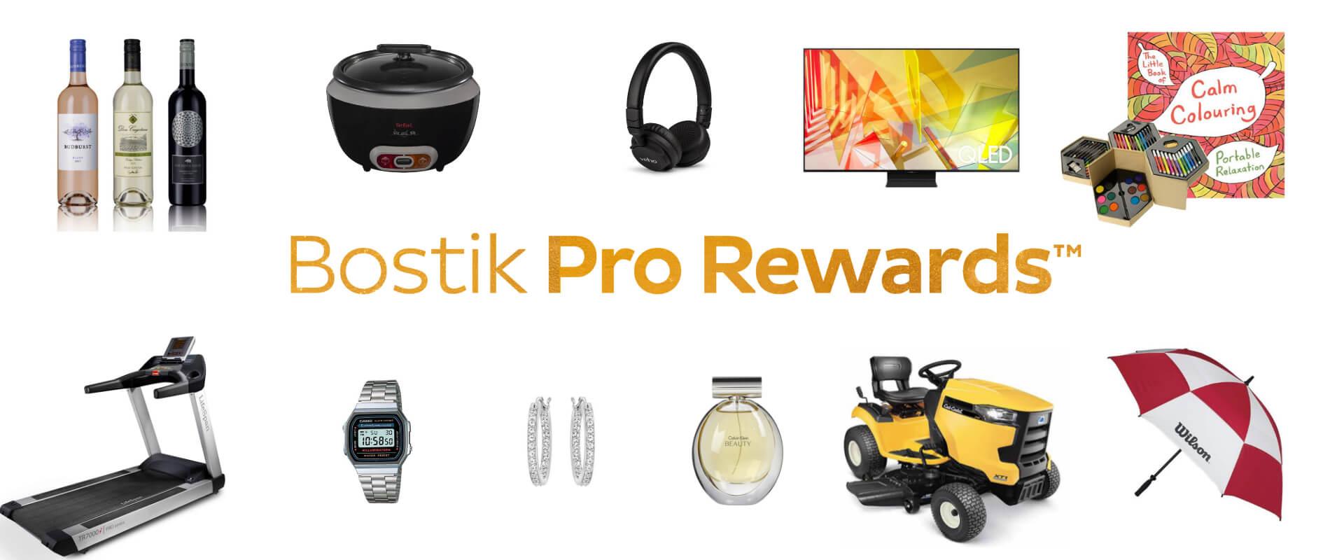 Bostik profloor rewards banner with wine tv headphones