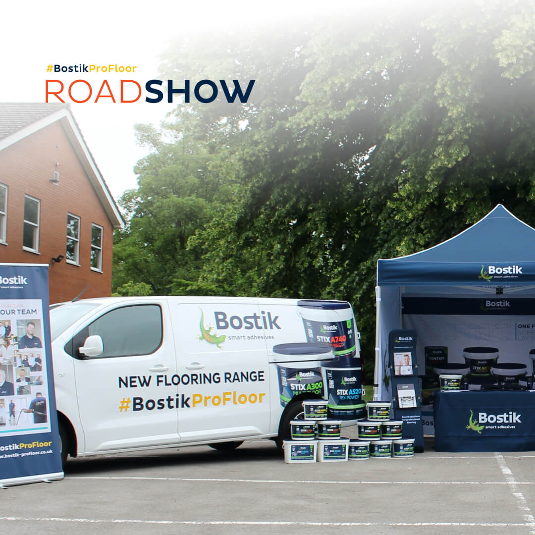 Bostik roadshow with branded van and pop-up tent showing new flooring range products
